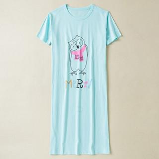 dahua home 纯棉睡裙T恤女春夏季短袖大码韩版中长款全棉卡通睡衣宽松家居服