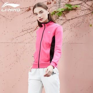 LI-NING 李宁 李宁卫衣女士外套春夏季薄款透气开衫立领宽松运动休闲大码运动服
