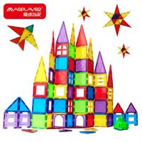 MAGPLAYER 魔磁玩家 彩窗磁力片62件套 构建片7.5cm儿童玩具磁力片积木