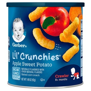 Gerber 嘉宝 婴儿泡芙 宝宝辅食  手指泡芙三段 苹果甜薯味 (8个月以上)42g/罐