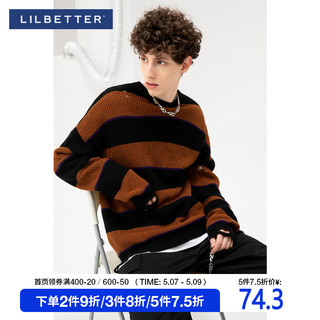 LILBETTER   Lilbetter毛衣男日系潮牌ins条纹撞色套头外套男士宽松圆领针织衫
