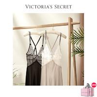 VICTORIA'S SECRET 维多利亚的秘密 维密 蕾丝缎面性感水钻LOGO闪亮肩带美背吊带睡裙11180601