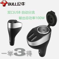 BULL 公牛 公牛(BULL)车载充电器 扩展口车充GNV-CD1181黑色12-24V双USB一拖三