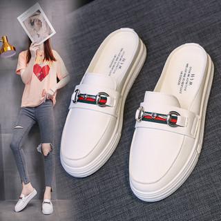 网红凉拖鞋女ins潮2021新款夏季时尚外穿百搭平底懒人半拖小白鞋