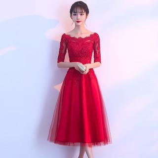 新娘敬酒服2021新款夏季酒红色回门订婚一字肩小个子结婚礼服裙女