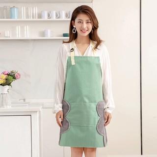 草木沫芬 围裙 可防水防油围裙 厨房做饭围腰可擦手绿色
