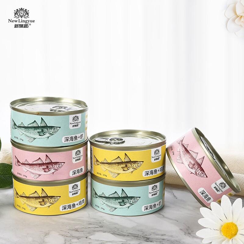 New Lingyue 新领越 猫零食 猫罐头湿粮红肉猫咪罐头 成猫幼猫主食罐 混合口味170g*6罐