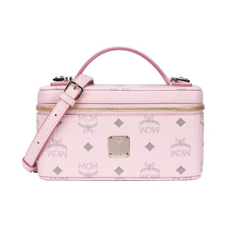 MCM  奢侈品 女士 柔粉色人造革手提单肩斜挎包化妆盒包 MWRAAVI01QH001