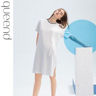 chundu 淳度 淳度莫代尔棉睡裙女夏季薄款孕妇睡衣宽松大码家居服短袖时尚睡裙 百合色 XL