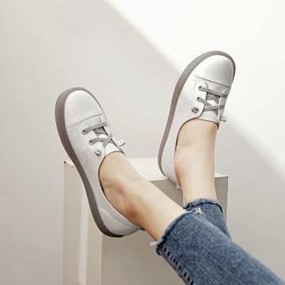 SATCHI 沙驰 21年新品头层牛皮革小雏菊鞋带女休闲鞋平底舒适夏小白鞋懒人鞋