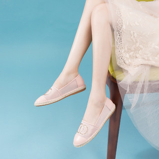 SATCHI 沙驰 新品 牛皮革/织物平底舒适渔夫鞋浅口休闲鞋单鞋仙女鞋