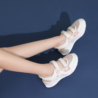 SATCHI 沙驰 21年新品 头层牛革/透气网面镂空轻便仙女风包头运动女休闲鞋