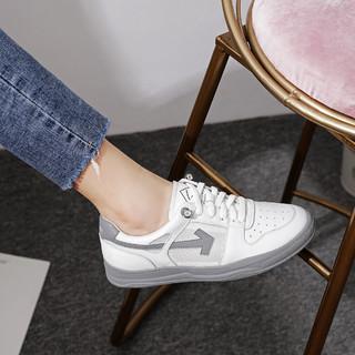 SATCHI 沙驰 21年新品牛皮革网面透气平底便捷套脚女休闲鞋舒适小白鞋板鞋
