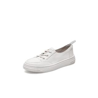 Teenmix 天美意 天美意2021春减龄小白鞋牛皮革女休闲鞋