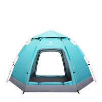 CAMEL 骆驼 骆驼 CAMEL户外六角帐篷 野营加厚自动全套露营装备用品3-4双人双门帐篷 A9SPSY002-1,水蓝