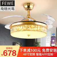 FEWE 飞稳  客厅灯扇一体吊扇灯 流金岁月_48寸LED变光+遥控+变频6档