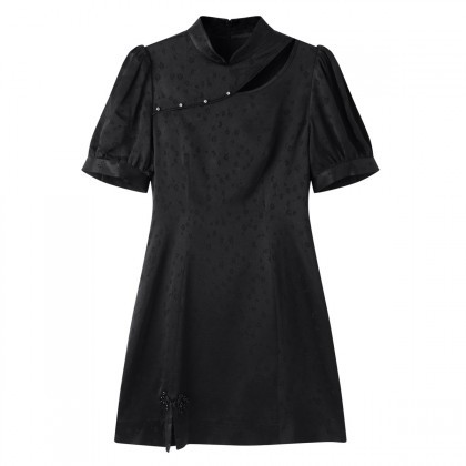 PEACEBIRD 太平鸟 A7FAB2A1389 女士改良式旗袍小黑裙