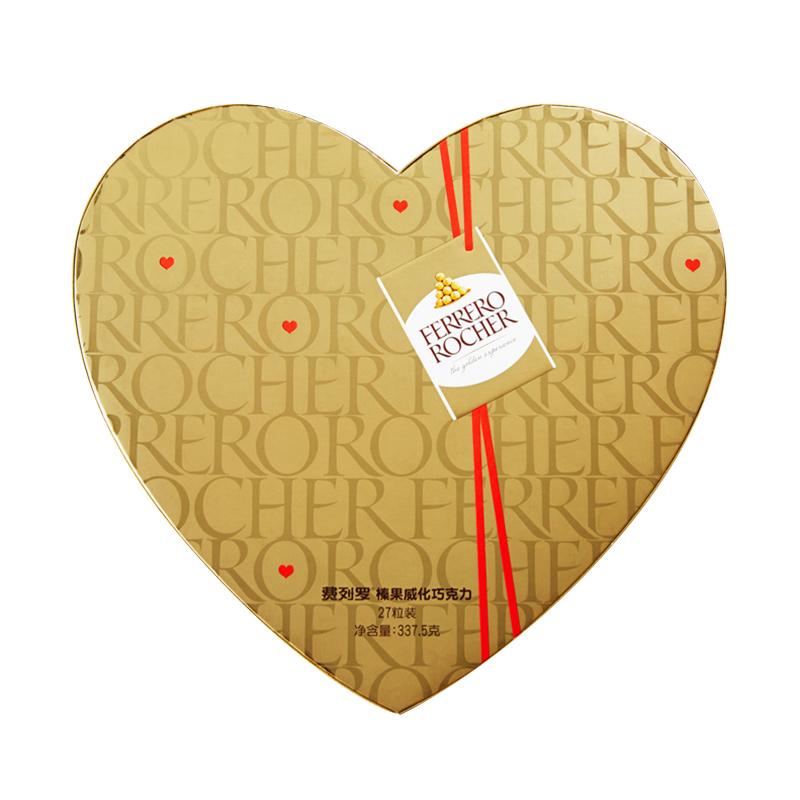 FERRERO ROCHER 费列罗 榛果威化巧克力零食27粒 心型装 休闲零食心形礼盒爱心礼物