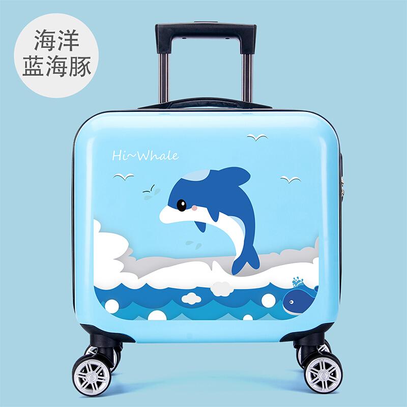 咔米嗒儿童行李箱男童拉杆箱卡通旅游小孩女宝宝万向轮16吋旅行箱卡通皮箱旅行箱 森林激萌16寸旅行箱-海洋蓝海豚