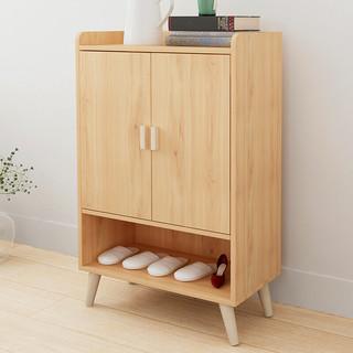 PULATA 鞋柜现代简约实木腿对开门鞋架 玄关简易多层大容量木质收纳柜子 原木色 3016105