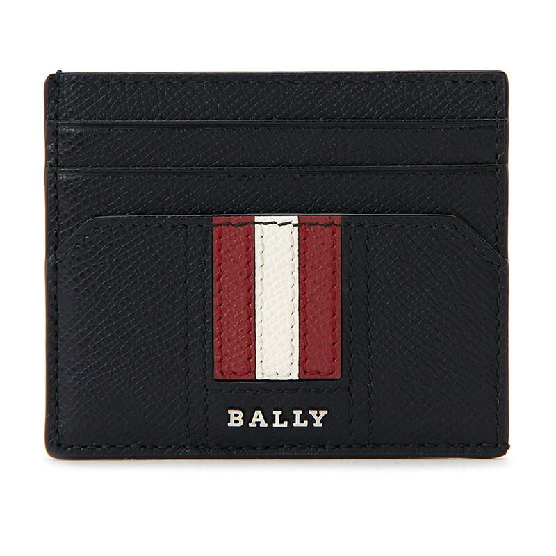 BALLY 巴利 新款男女通用牛皮红白条纹卡包卡夹 TALBYN LT 10 6224218 黑色