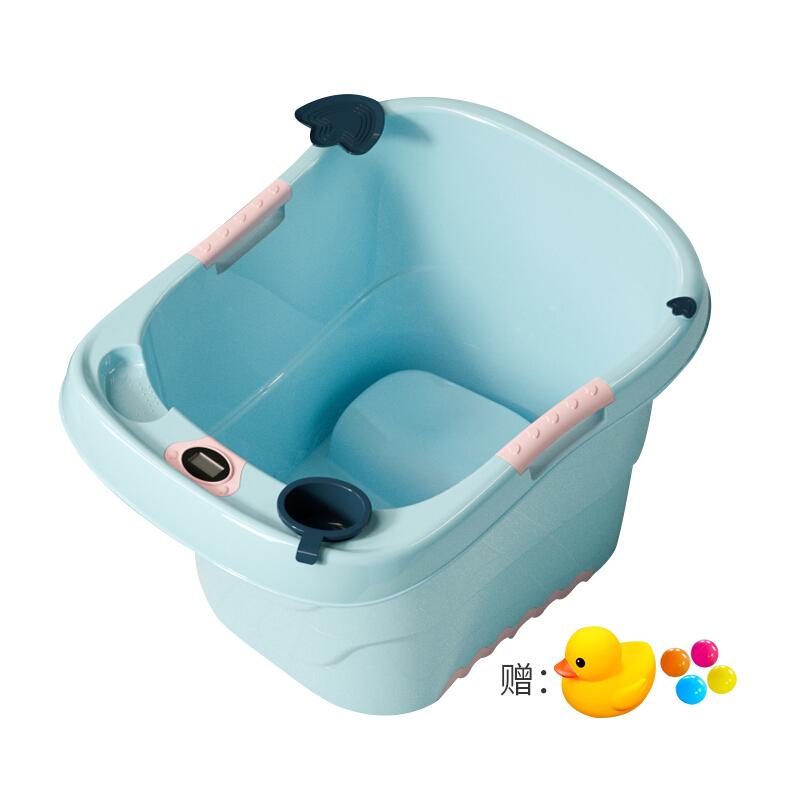 育芽感温浴桶 婴儿洗澡桶 宝宝儿童洗澡桶浴桶 新生儿宝宝婴儿游泳桶--蓝色