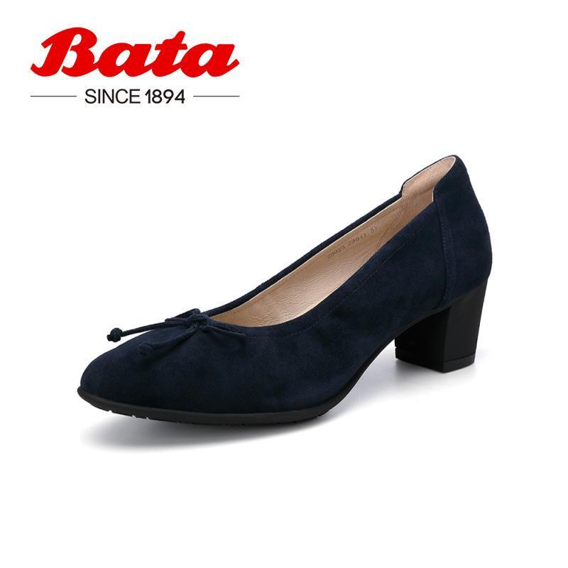 Bata通勤奶奶瓢鞋女时尚精选秋季新品商场新款百搭中高粗跟工作单鞋29025CQ0纯色粗跟OL通 蓝色 38