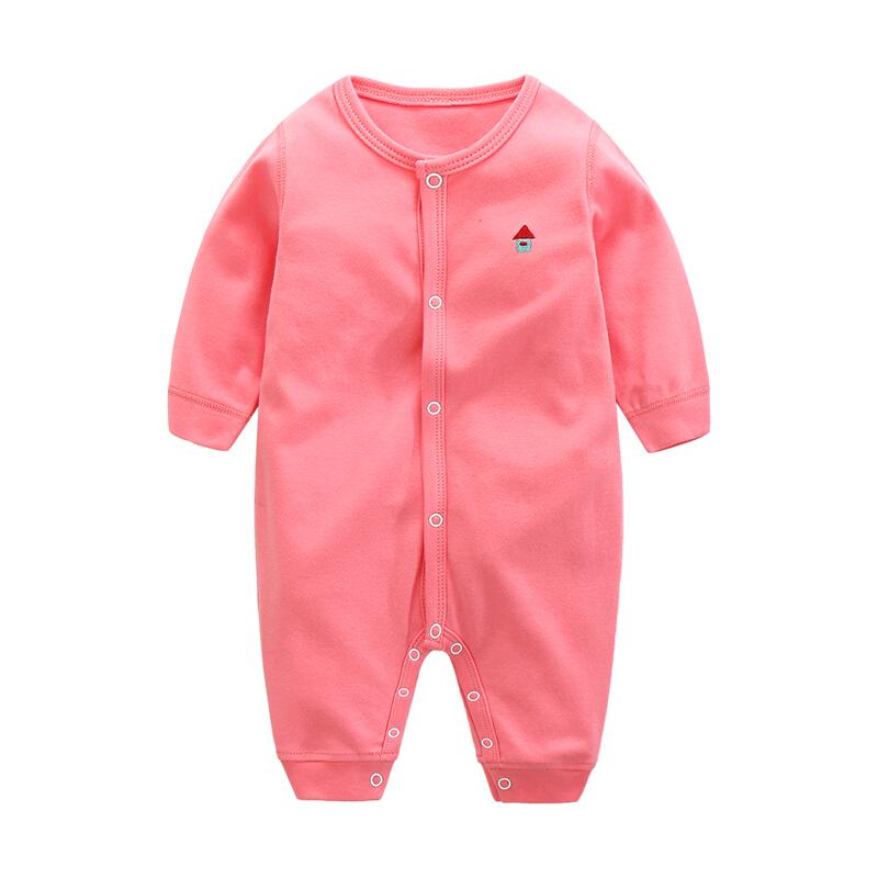 贝壳元素婴儿卡通哈衣春装新生儿连体衣男女宝宝外出爬服xhy0229 粉红色 66