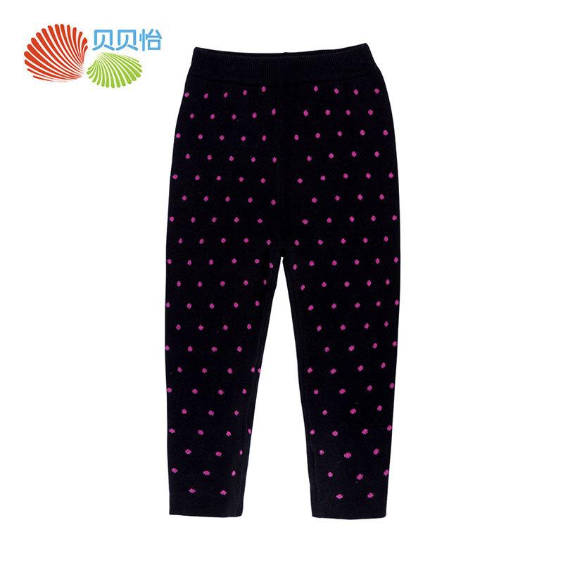 贝贝怡新品童装加厚保暖裤子 女童宝宝针织弹性长裤 黑色 12个月/身高80cm