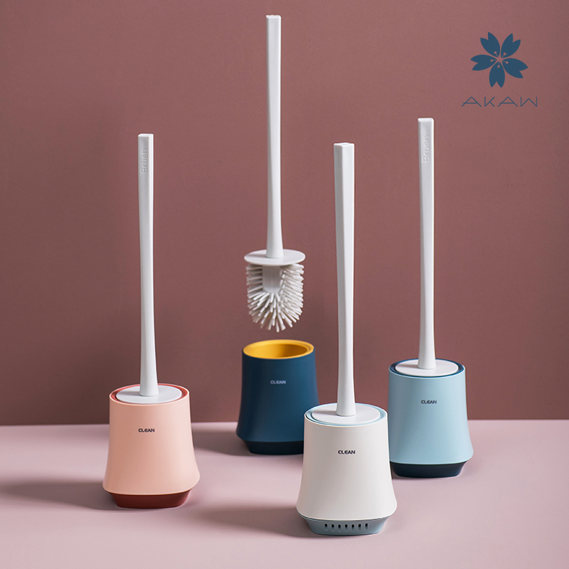 日本AKAW爱家屋马桶刷家用无死角卫生间刷子软毛长柄厕所清洁套装