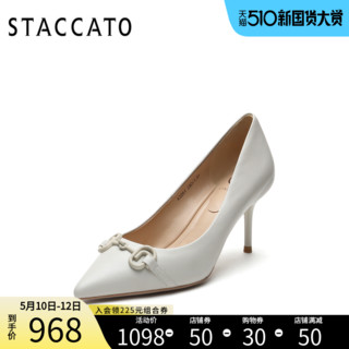 STACCATO 思加图 思加图2021春季新款尖头气质高跟鞋细跟女鞋皮鞋通勤单鞋A3261AQ1