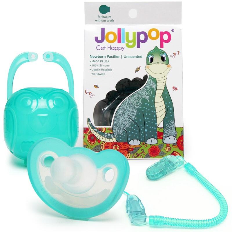 Jollypop 【美国进口】悠乐宝产院用一体全硅胶婴儿安睡型安抚奶嘴磨牙牙胶 0-6-18个月 0+绿色,0-12个月新生儿,24个月内亦适用