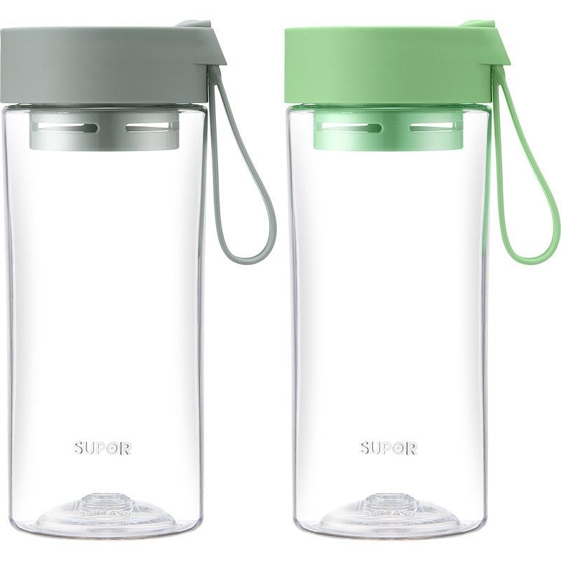 苏泊尔水杯女夏季网红2020新款潮学生便携塑料杯子男生大容量外带 510ml-椰子灰 带茶滤