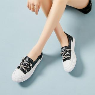 GIOVANNI VALENTINO 卓凡尼·华伦天奴 新款牛皮鞋带带水钻装饰套脚鞋简约厚底百搭小白鞋休闲鞋