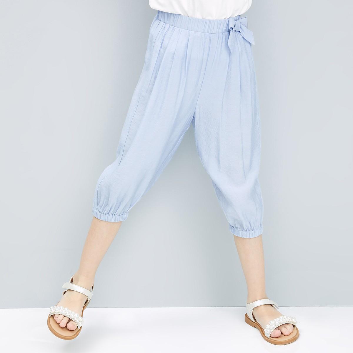 女童七分束脚裤
