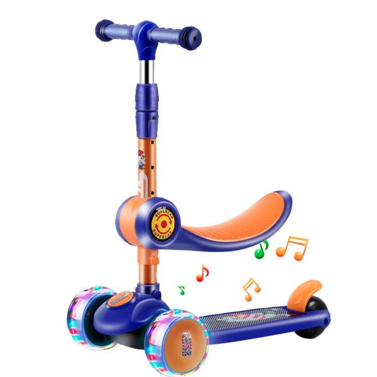 可拆卸踏板车 蓝色悍马轮+座椅+音乐 多款可选