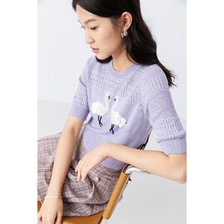 YINER 音儿 YINER音儿女装2021夏季新款时尚休闲气质圆领印花毛针织衫