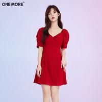 ONE MORE2021夏季新款红色连衣裙女夏法式复古修身裙 红色 165/88A/M