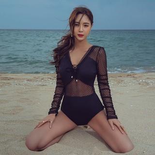 三奇 保守连体泳衣女性感深V遮肚显瘦长袖防晒温泉度假网红新款蕾丝装