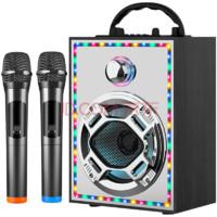 拼搏者  无线蓝牙音箱炮大音量便携式广场舞音响 2020款高配   黑色  无线双话筒+32G优盘