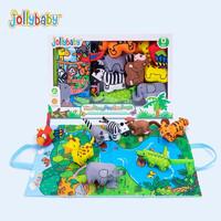 jollybaby祖利宝宝 0-3岁宝宝婴儿 触摸布书立体礼盒撕不烂早教玩具礼物 丛林立体布书(礼盒装)