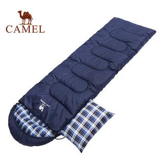 CAMEL 骆驼 骆驼睡袋户外旅行 秋冬季加厚露营防寒单人可拼接睡袋便携隔脏 A8W03004 藏青左 1.8KG