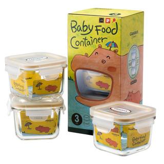 Glasslock进口耐热钢化玻璃婴幼儿辅食盒 密封零食储存收纳保鲜盒 可微波炉3件套 210ml*3