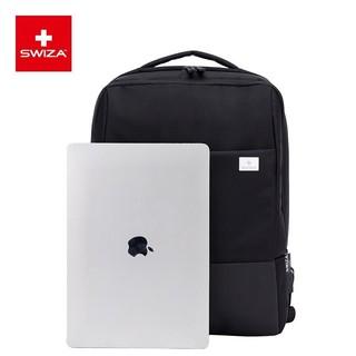 SWIZA 瑞莎 SWIZA双肩包男电脑包15英寸旅行背包通勤商务包女大容量2020新款 黑色