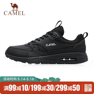 CAMEL 骆驼 骆驼(CAMEL)运动鞋男女气垫鞋情侣款革面透气休闲鞋减震跑步鞋 A04231L8335 男款黑色 41