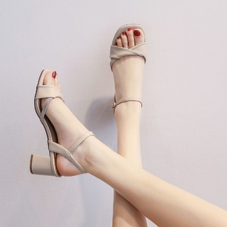 Cardanro 卡丹路 小舍得21夏季新款一字带凉鞋女高跟鞋粗跟通勤女鞋