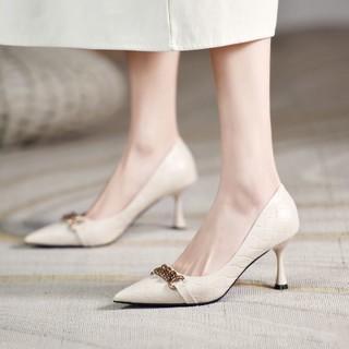 KAISER 凯撒 高跟鞋女细跟浅口皮鞋女尖头气质单鞋女英伦风女鞋
