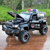 京东PLUS会员 : 凌速 合金回力1:32越野警车玩具音乐灯光四开门仿真模型