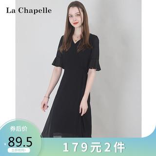 La Chapelle 拉夏贝尔 拉夏贝尔Laetia2021夏雪纺连衣裙女修身显瘦气质复古赫本小黑裙