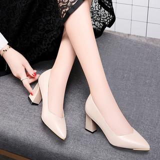GUCIHEAVEN 古奇天伦 古奇天伦(GUCIHEAVEN)女士 时尚百搭舒适职业正装高跟皮鞋 G8645 米色(跟高7.5厘米) 37